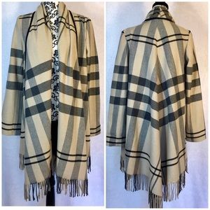 Zara Wool Plaid Fringe Detail Coat Poncho